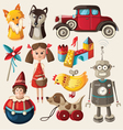 Set of colorful vintage christmas toys for kids vector image