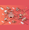3d isometric food courts festival vector image vector image