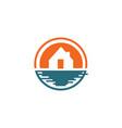 beach house logo design template vector image vector image