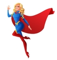 Beautiful sexy superhero woman flying and waving vector image