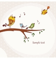 Birds sitting on a tree branch vector image vector image