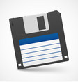 Black floppy diskette on white background vector image vector image
