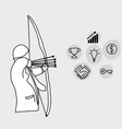businessman as an archer using five arrows aiming vector image