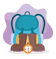 camping backpack boots and compass equipment vector image