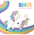 card whith two unicorns that dance on the rainbow vector image vector image