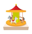 Carousel with horses cartoon icon vector image vector image