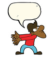 cartoon annoyed man gesturing with speech bubble vector image vector image