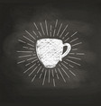 chalk textured coffee cup with sun rays vector image