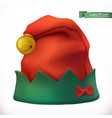 christmas elf hat 3d icon vector image vector image