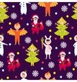 Christmas kids seamless pattern vector image