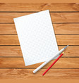 clean sheet blank with fountain pen and red vector image