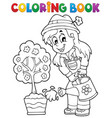 coloring book gardener theme 1 vector image vector image