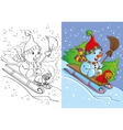 Coloring Book Of Snowman With Dog Rides vector image