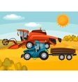 Combine harvester and tractor on wheat field vector image vector image