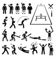 cricket player actions poses stick figure vector image