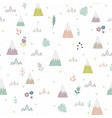cute mountains plants seamless pattern vector image