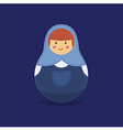 Cute Russian Doll Blue vector image