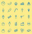 Dessert line icons on yellow background vector image vector image