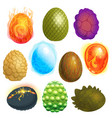 dragon eggs cartoon egg-shell and colorful vector image vector image