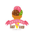 fast food original logo design badge with ice vector image vector image
