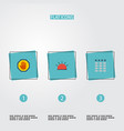 flat icons keypad siren forbidden and other vector image vector image