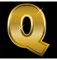 Golden font type letter Q vector image vector image