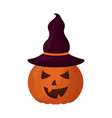 halloween pumpkin with hat witch isolated icon vector image vector image