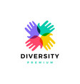 hand diversity team community logo icon vector image