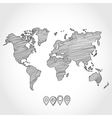 hand drawn doodle sketch political world map vector image