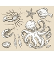 Hand drawn sketch set sea animals seafood vector image