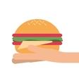 hand holding single hamburger icon vector image vector image