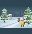 happy kids to wear winter clothes and play in a vi vector image vector image