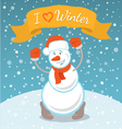 Happy Snowman with a Ribbon vector image