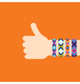 Hitchhiking hand with hippy friendship bracelets vector image