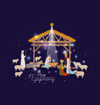 holy family in stable with wise kings manger vector image