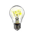 incandescent light bulb glowing from a splash of vector image vector image