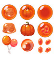 isolated orange bubbles set vector image vector image