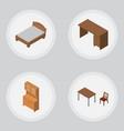 isometric furnishing set of bedstead cupboard vector image