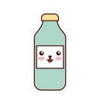 kawaii bottle sausage market condiment cartoon vector image