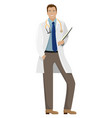 man doctor in white coat with a folder vector image