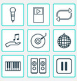 multimedia icons set with mike loudspeakers vector image vector image