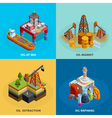 Oil Industry Isometric 4 Icons Square vector image vector image