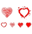 painted hearts set vector image