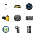 Photographing icons set cartoon style vector image vector image
