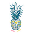 pineapple in sunglasses vector image