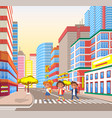 pupils walking in city crossing road town vector image vector image