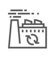recycling plant trash garbage line icon vector image vector image