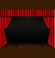 red open curtain with wood floor in theater velve vector image