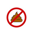 round sign prohibiting shit vector image vector image