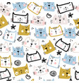 seamless childish pattern with cute funny cats vector image vector image